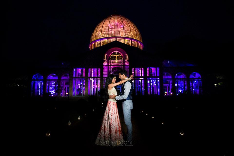 Sikh wedding couple portrait outside Syon Conservatory