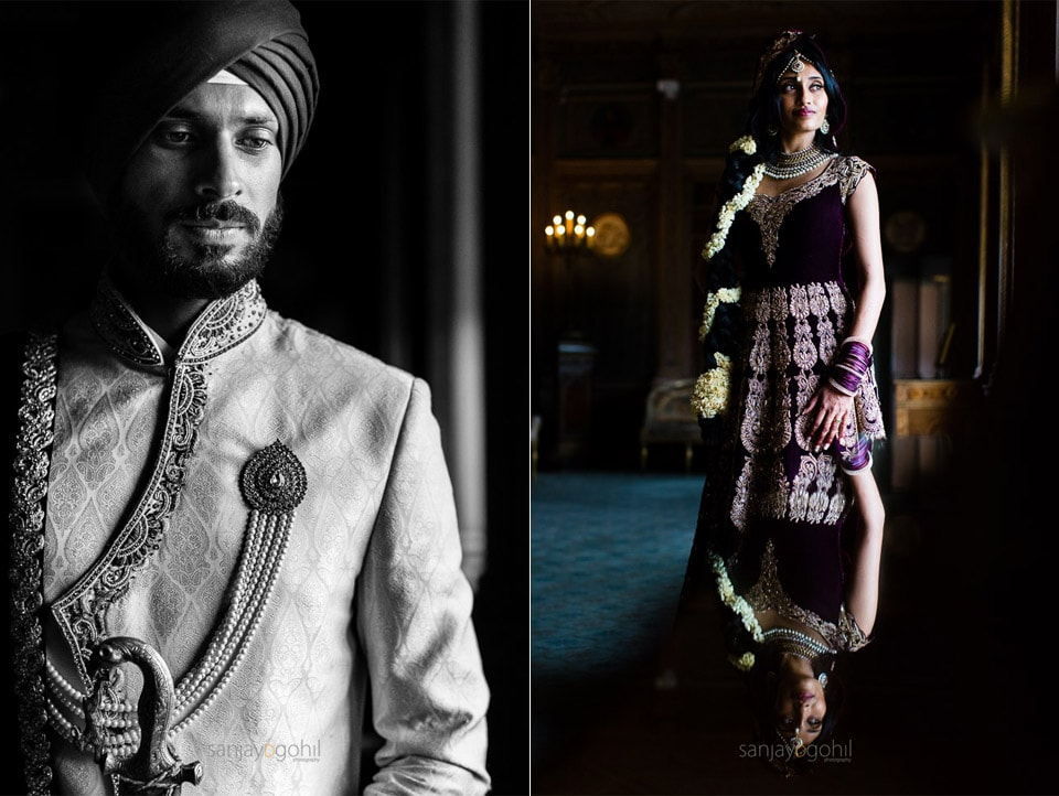 Sikh wedding couple portrait inside Syon Conservatory
