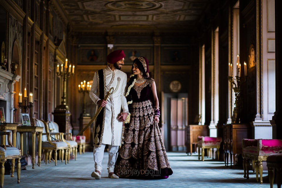 Sikh wedding couple portrait inside Syon Conservatory