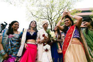 Hindu Wedding groom with Bride's sisters