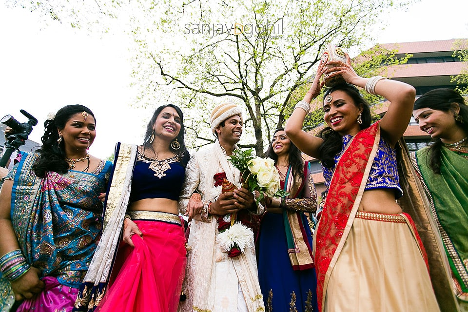 Hindu Wedding groom with Bride's sisters