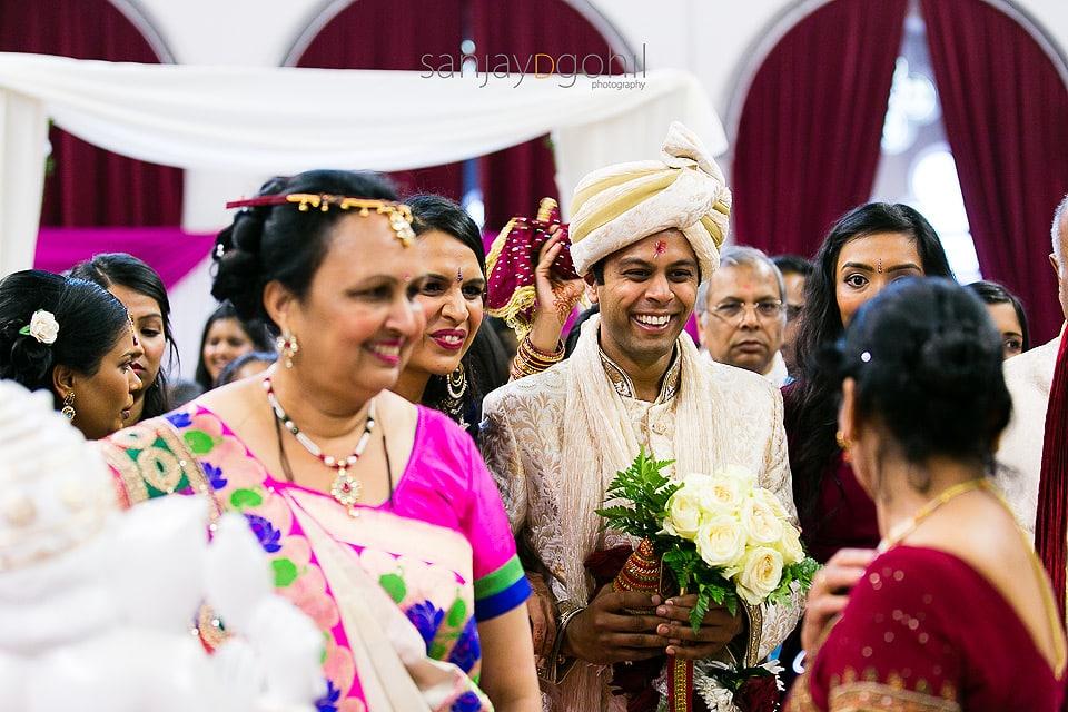 Hindu Wedding groom walking
