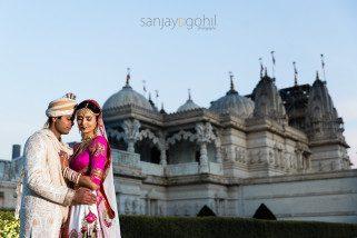 Wedding portrait at BAPS Shri Swaminarayan Mandir, London (Neasden Temple)
