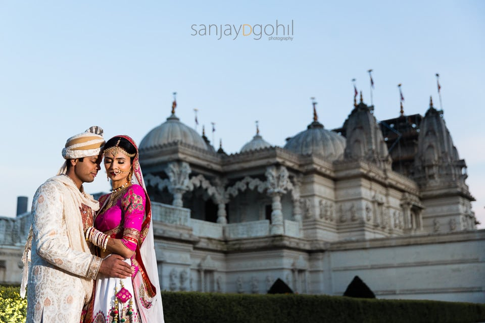 Wedding portrait at BAPS Shri Swaminarayan Mandir, London (Neasden Temple)