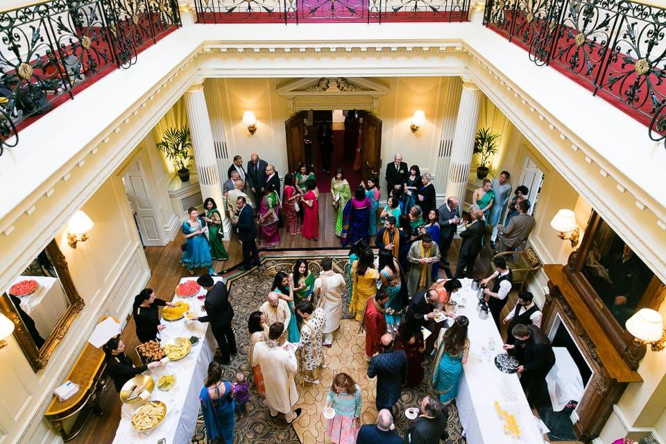 Guests having breakfast before Hindu wedding begins