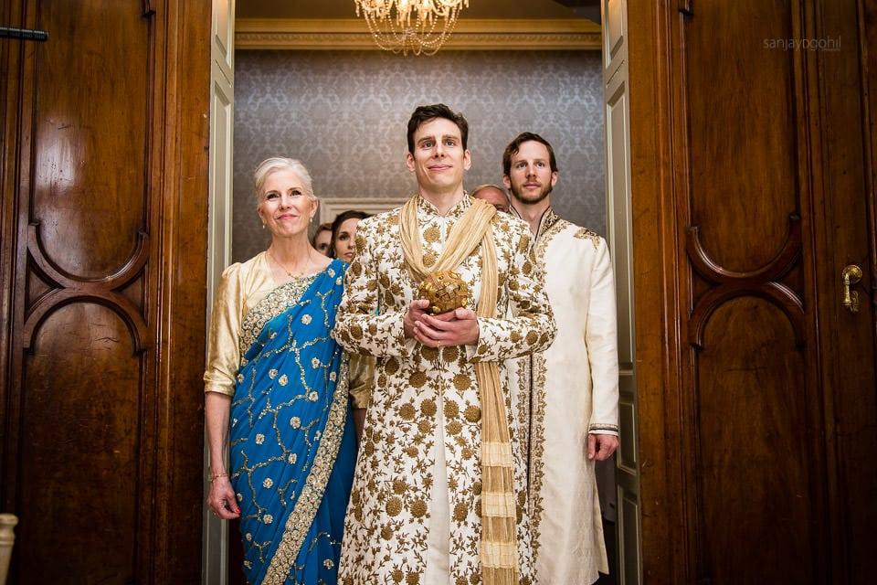 Wedding groom at enterance