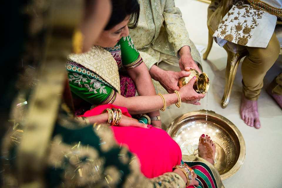 Feet washing ceremony during Hindu Wedding