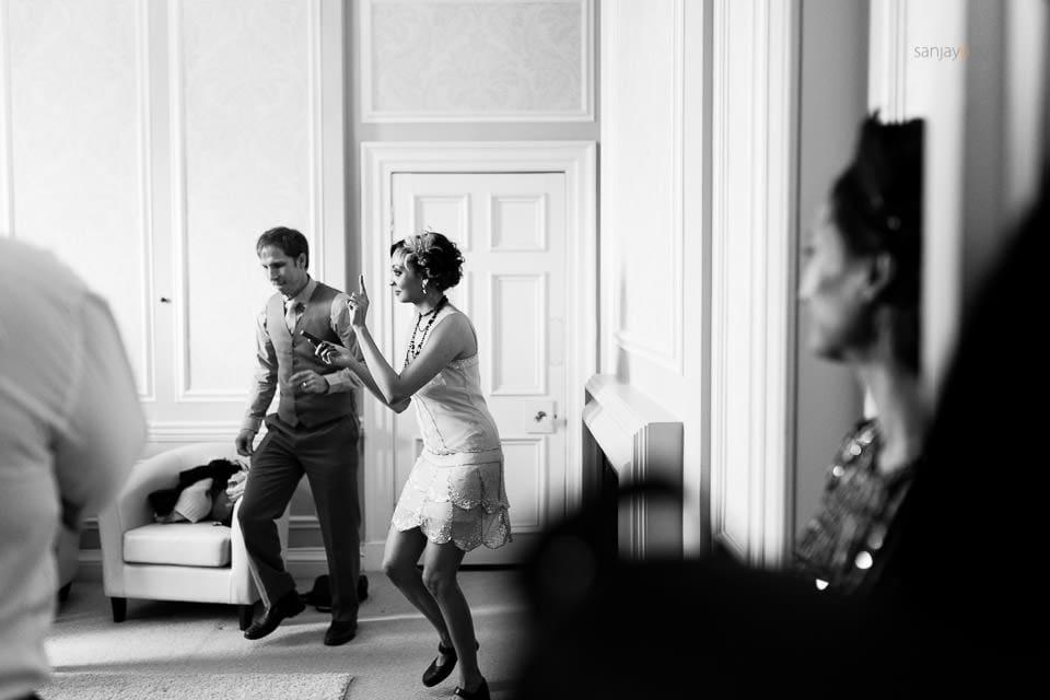 Friends practicing dance