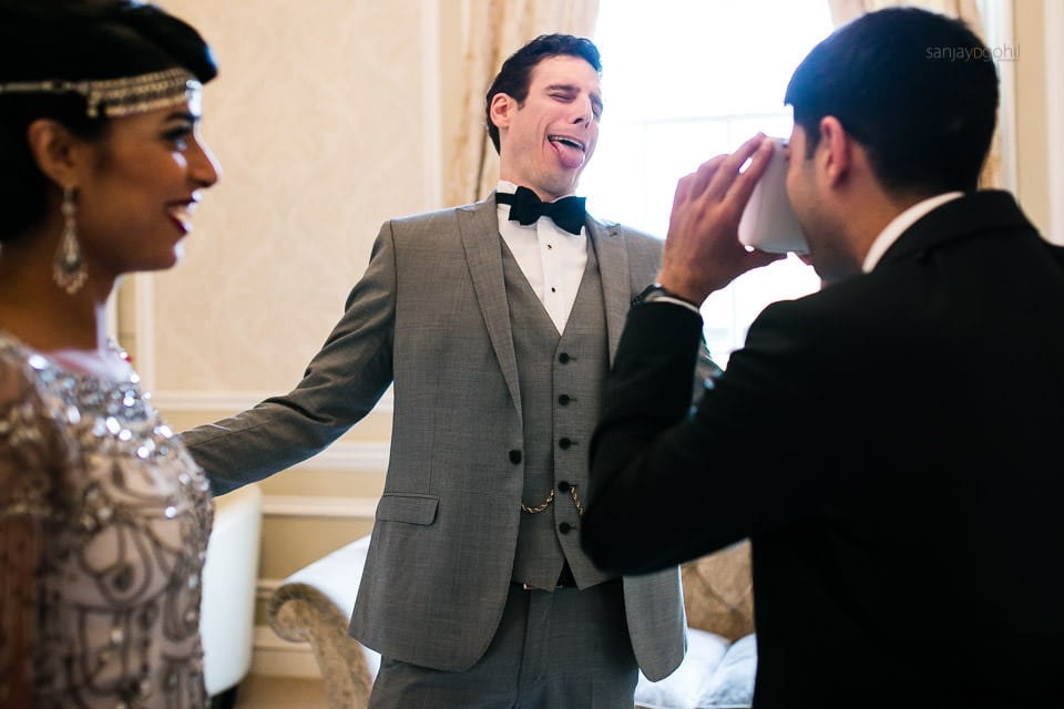 Groom making a silly face