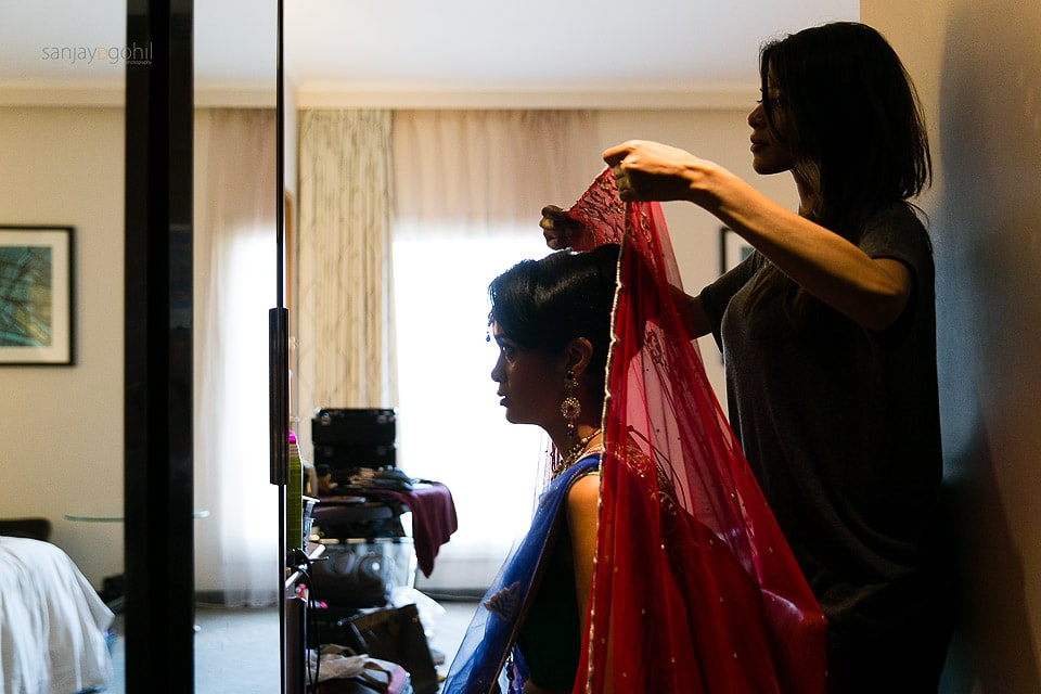 Asian Wedding groom getting ready