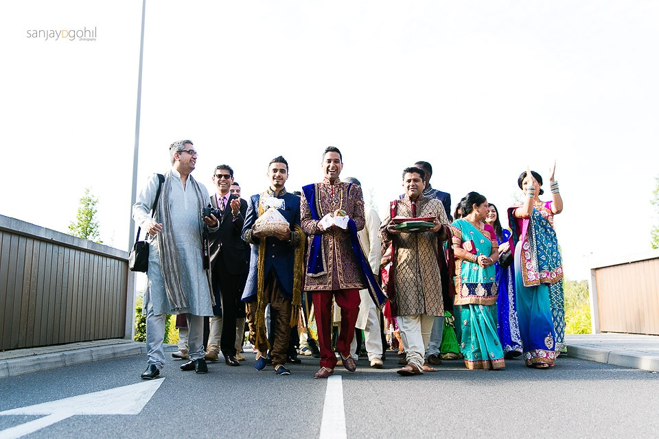 Asian Wedding groom family arrival