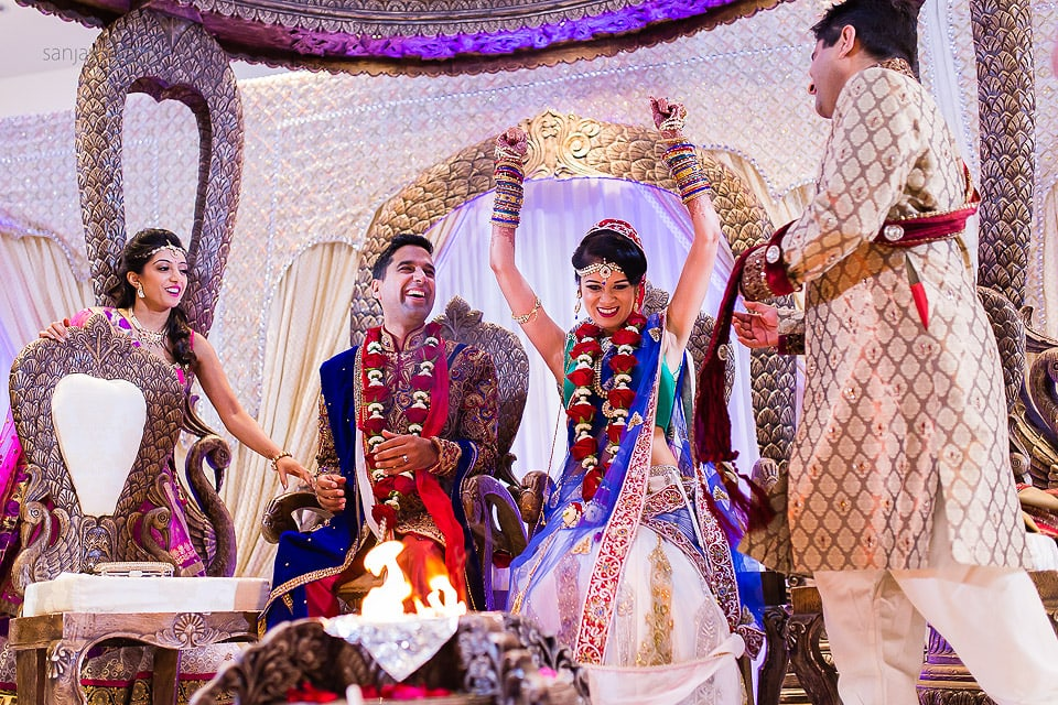 Gujarati bride sites down before groom
