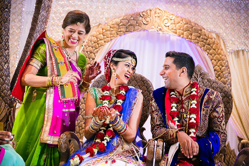 Hindu Wedding bride and groom laughing