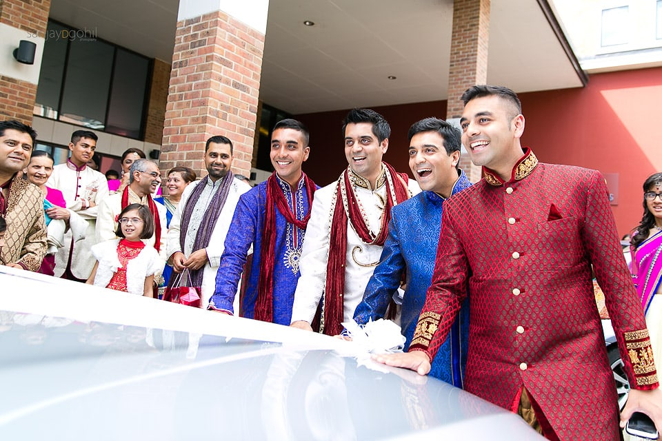 Bride's brothers stopping the car