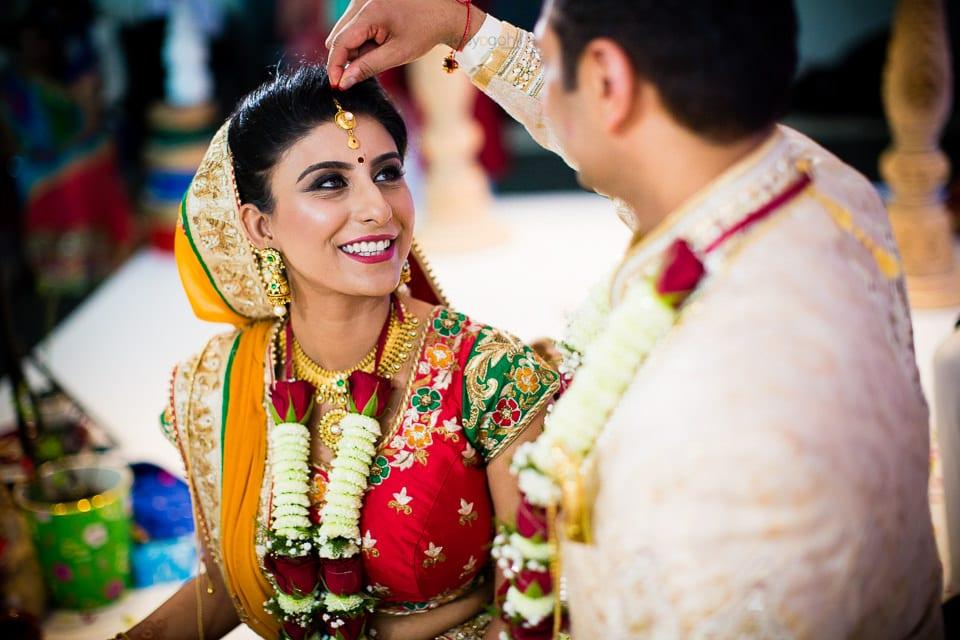 Sindoor ceremony during asian wedding ceremony