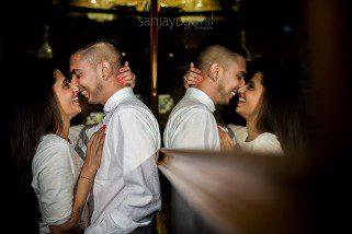 Reflection of couple during photoshoot