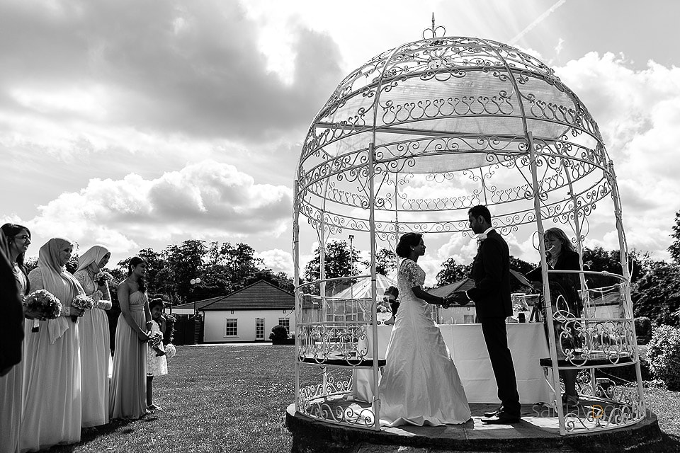 Silhouette of Civil ceremony at Manor of Groves in Sawbridge