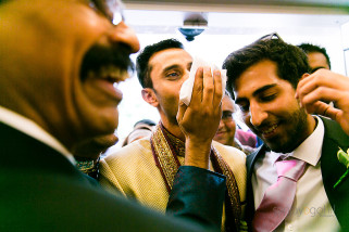 Nose being protected during welcoming ceremony of Hindu Wedding