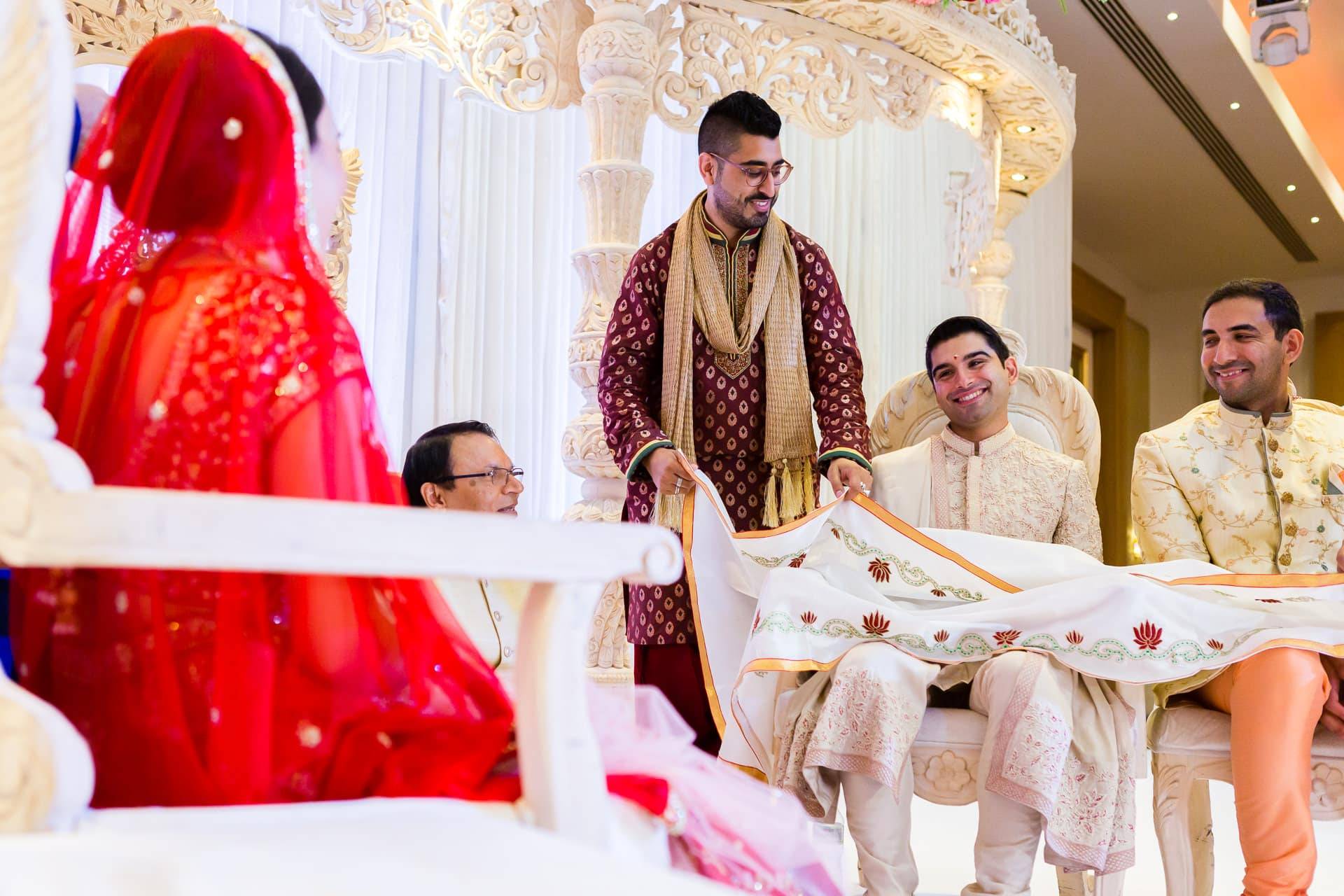 First look during Asian wedding ceremony