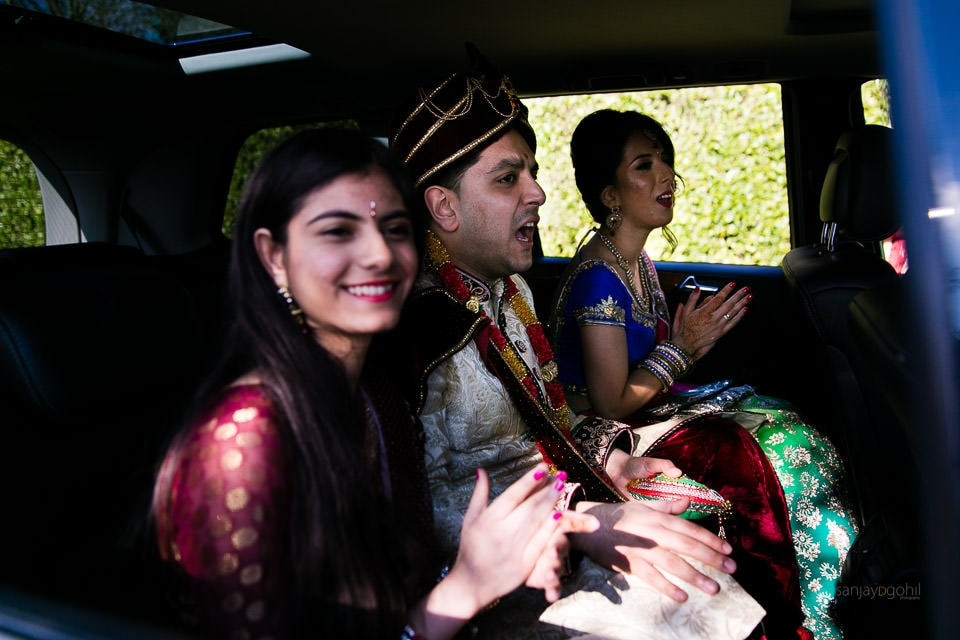 Hindu wedding groom arriving
