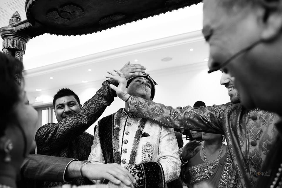 Hindu wedding groom welcoming ceremony