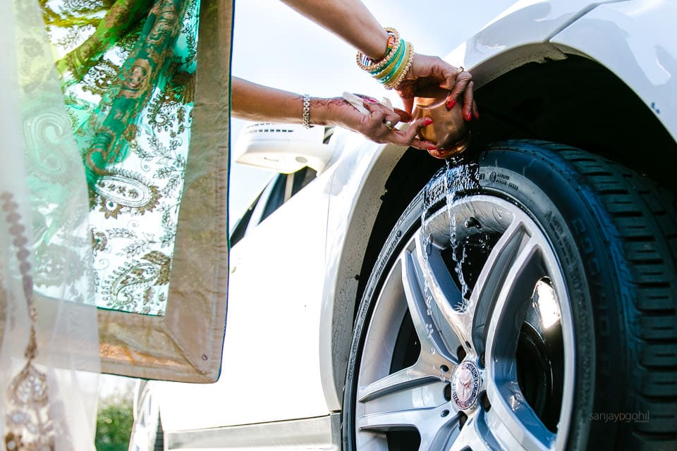 Wheel blessing ceremony after Hindu Wedding
