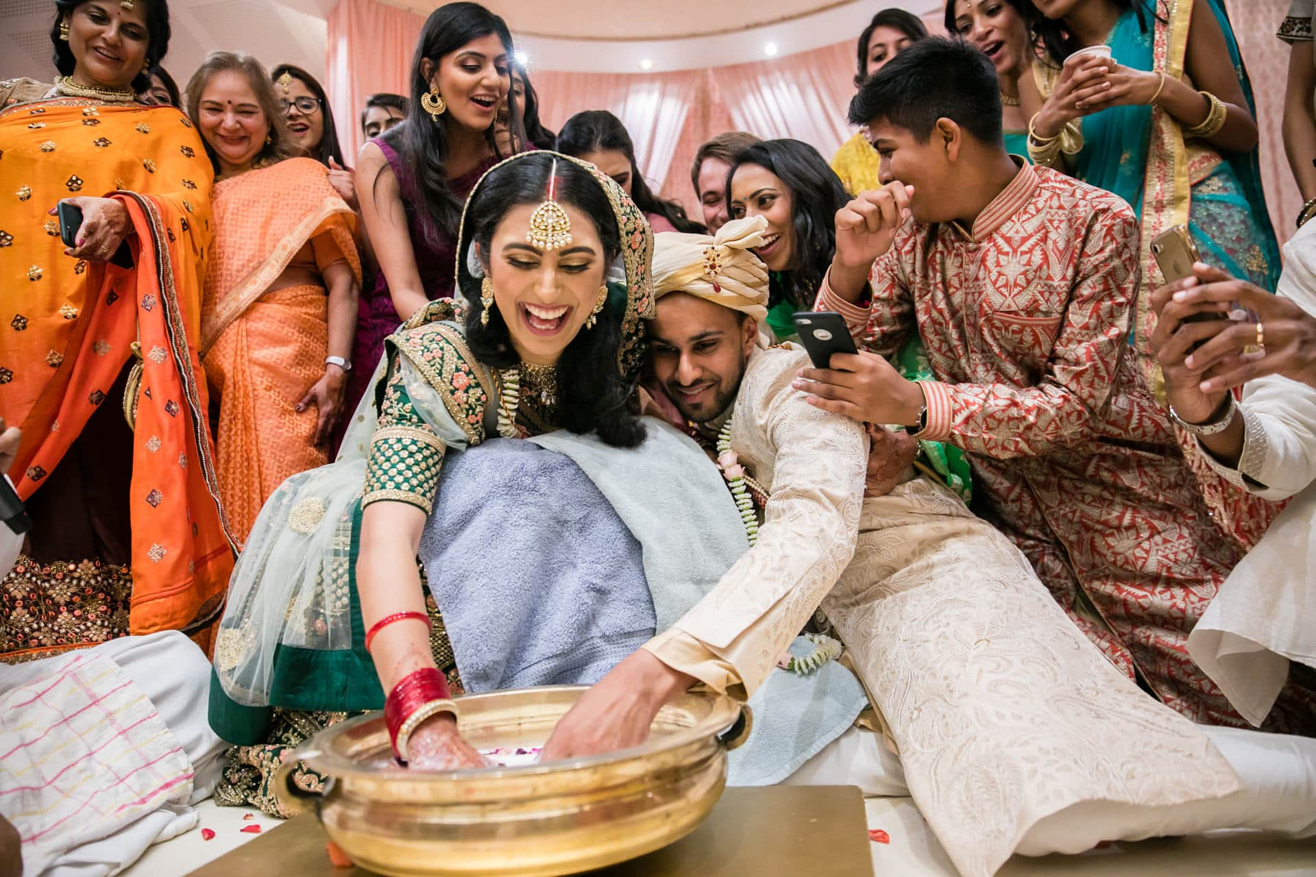 Bride and groom playing Koda Kodi