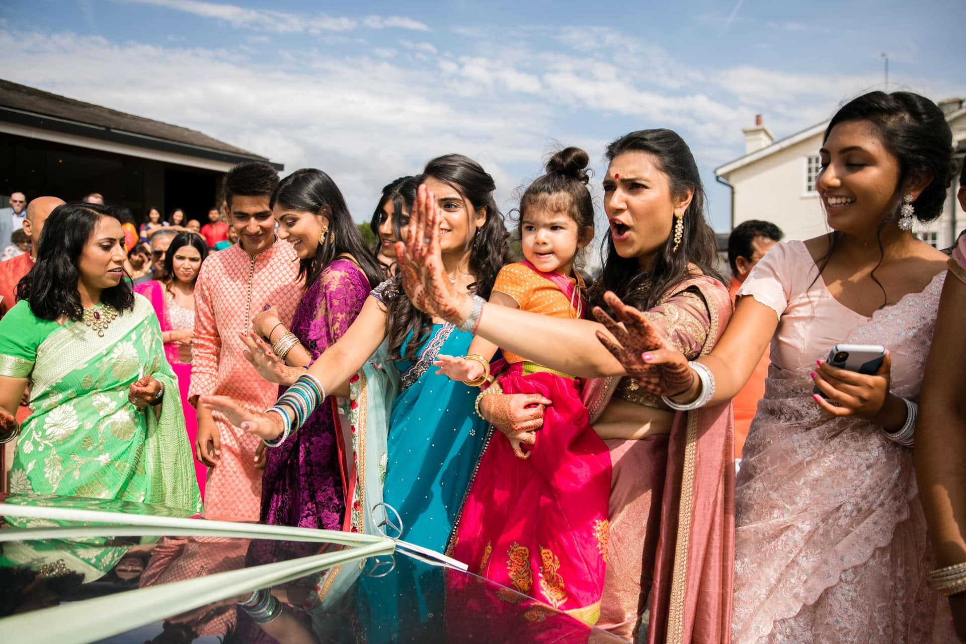 Bride's sisters stopping car
