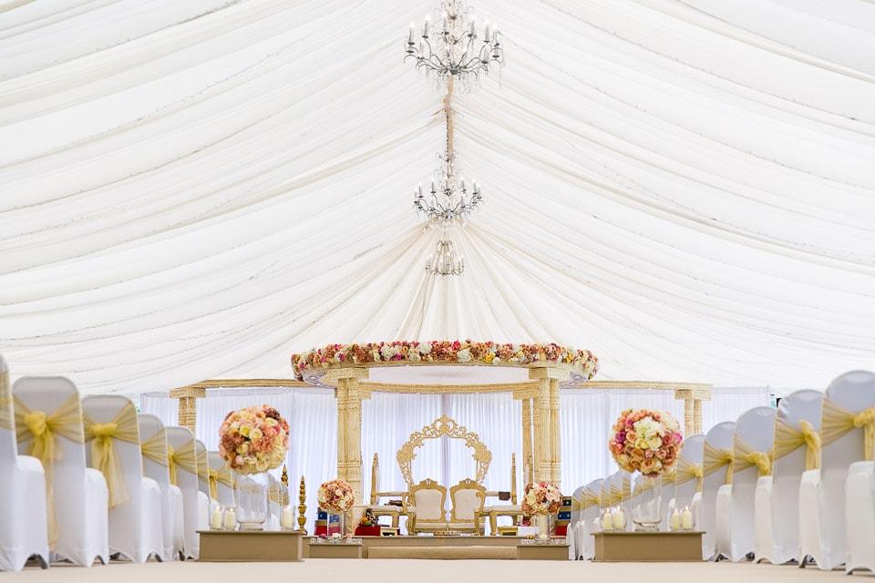 Hindu wedding mandap inside Parklands Quendon Hall