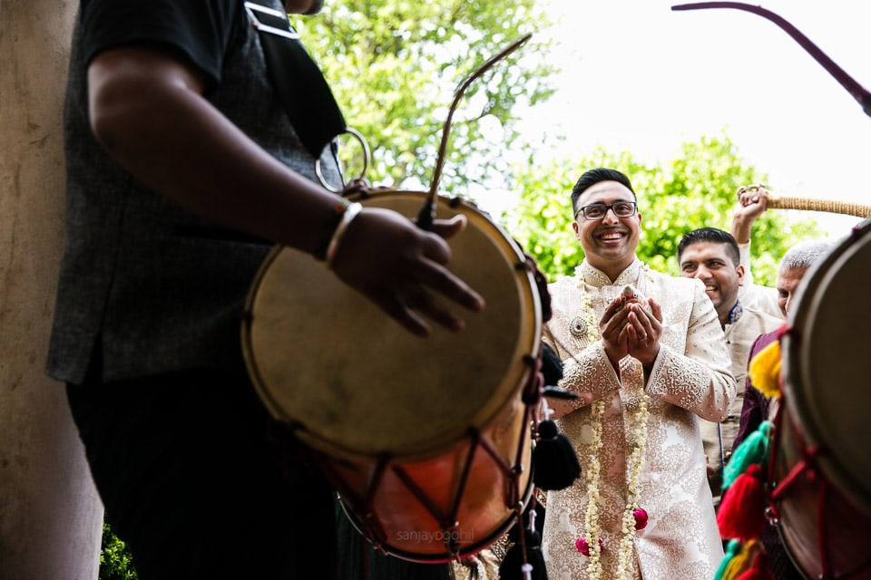 Wedding groom arriving