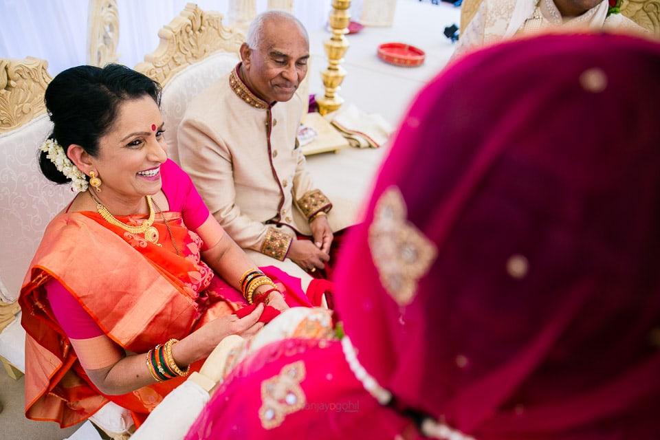 Mum of bride laughing