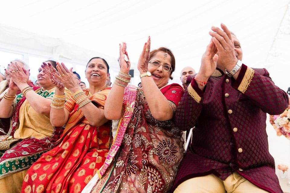 Hindu Wedding guests laughing