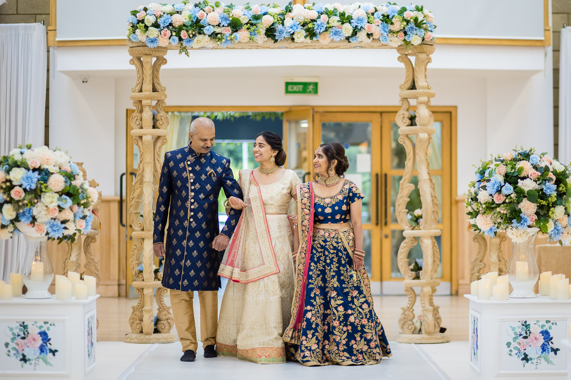 Asian wedding bride and Parents