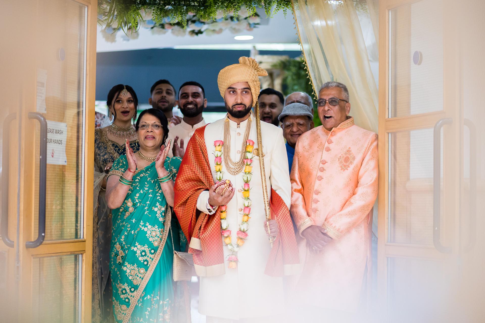 Wedding groom and family