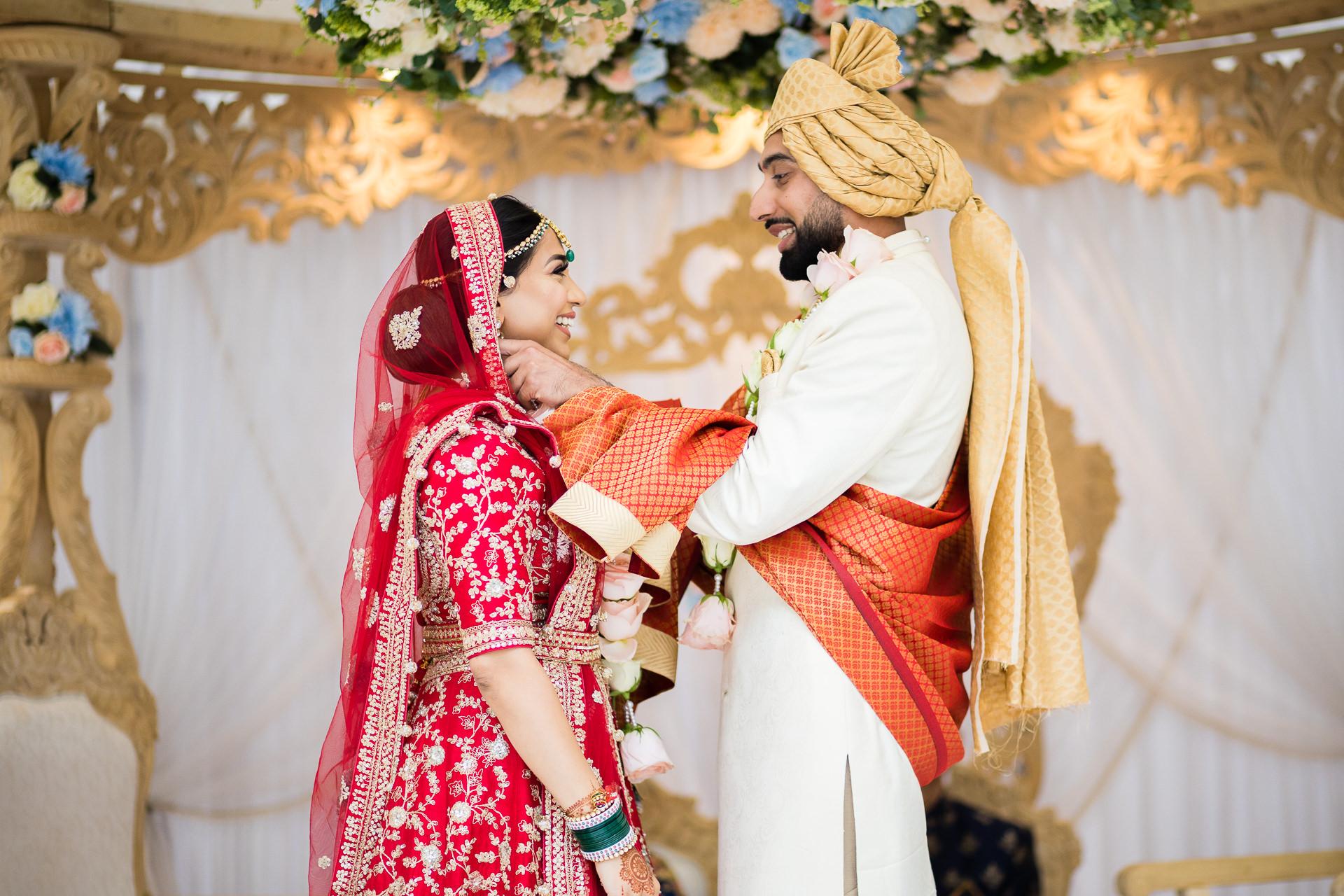 Hindu wedding garlanding ceremony