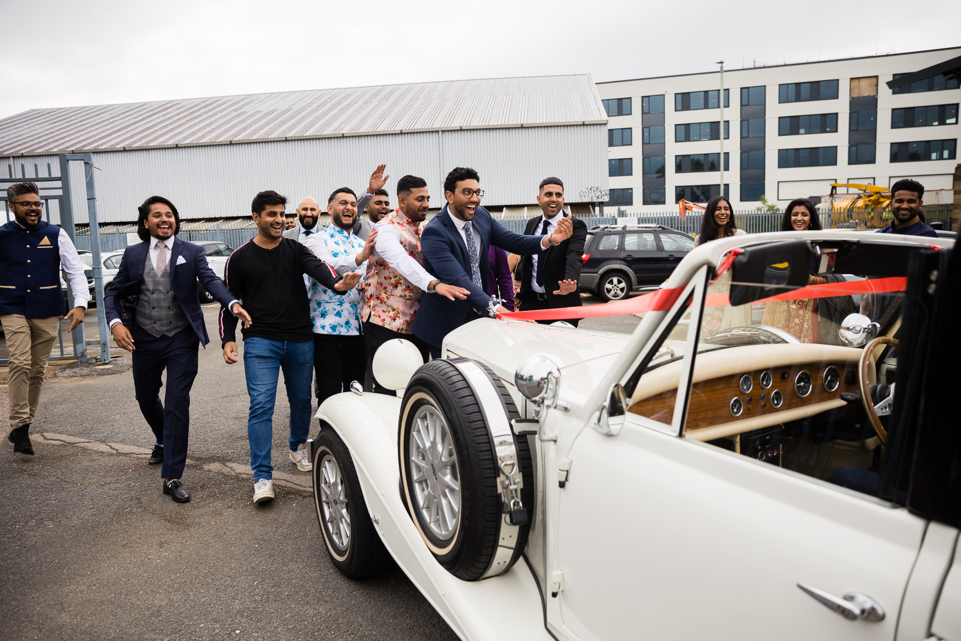 Groom's friends stopping the car