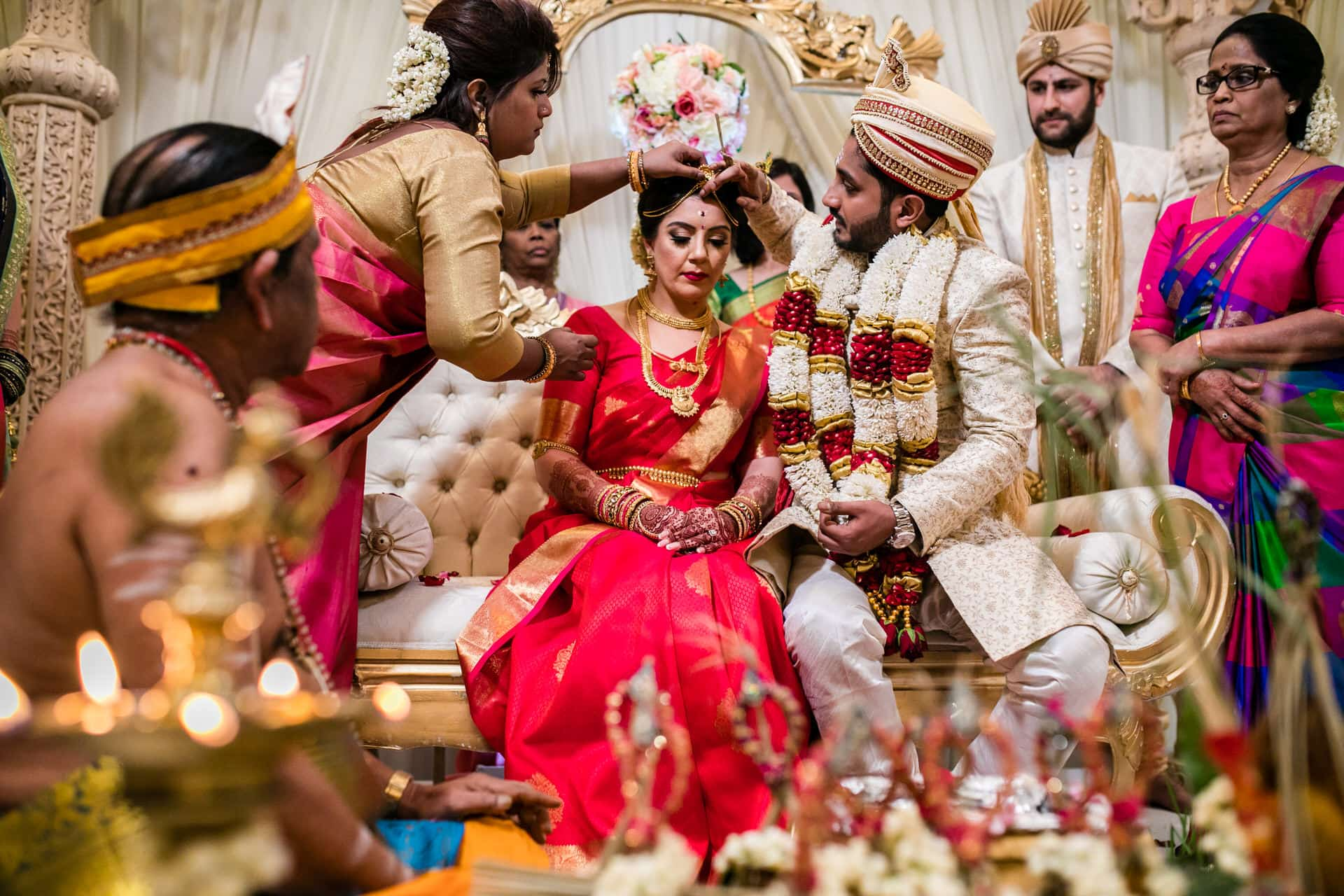 Sindoor ceremony during south indian wedding ceremony