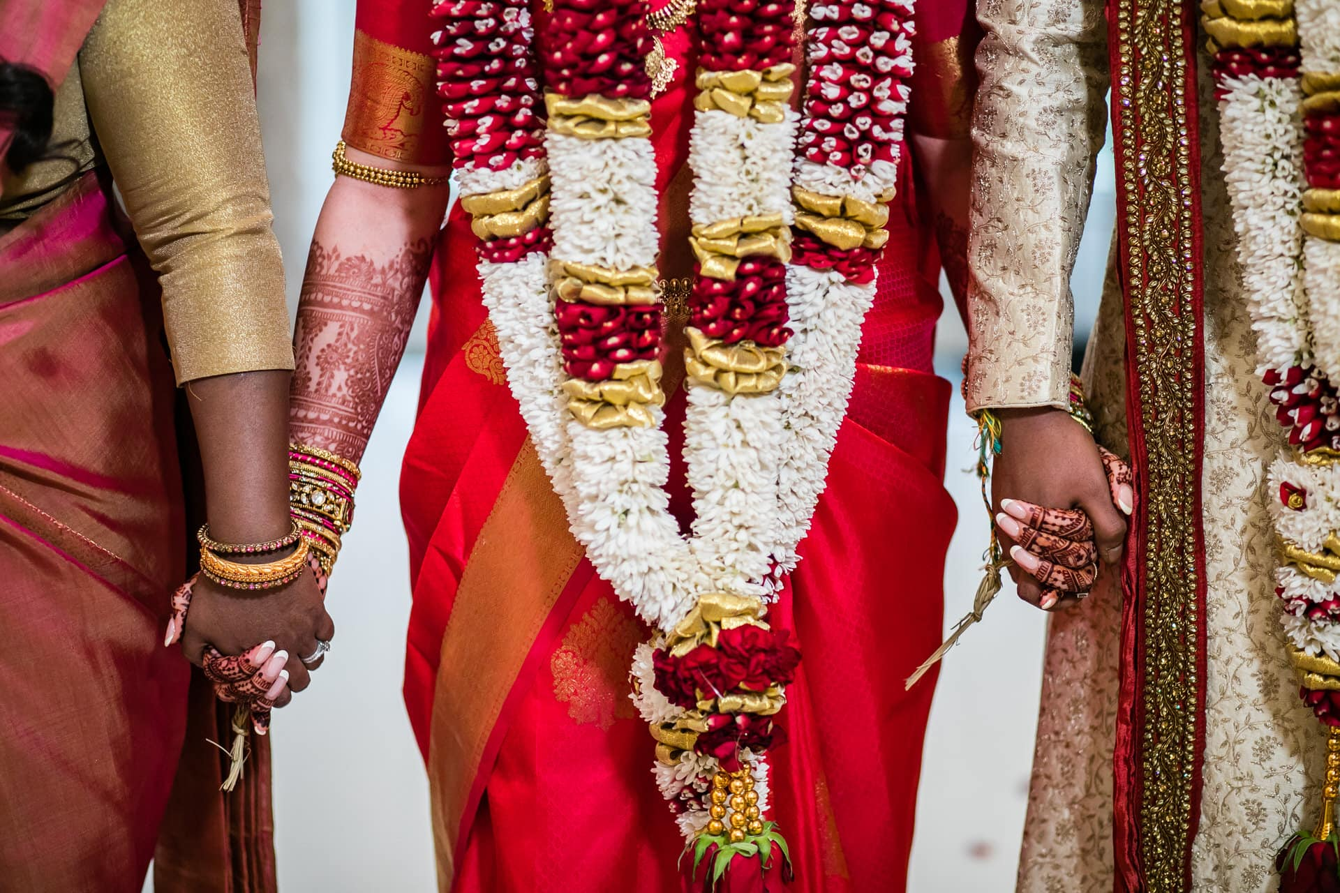 Closeup of bride holding hands
