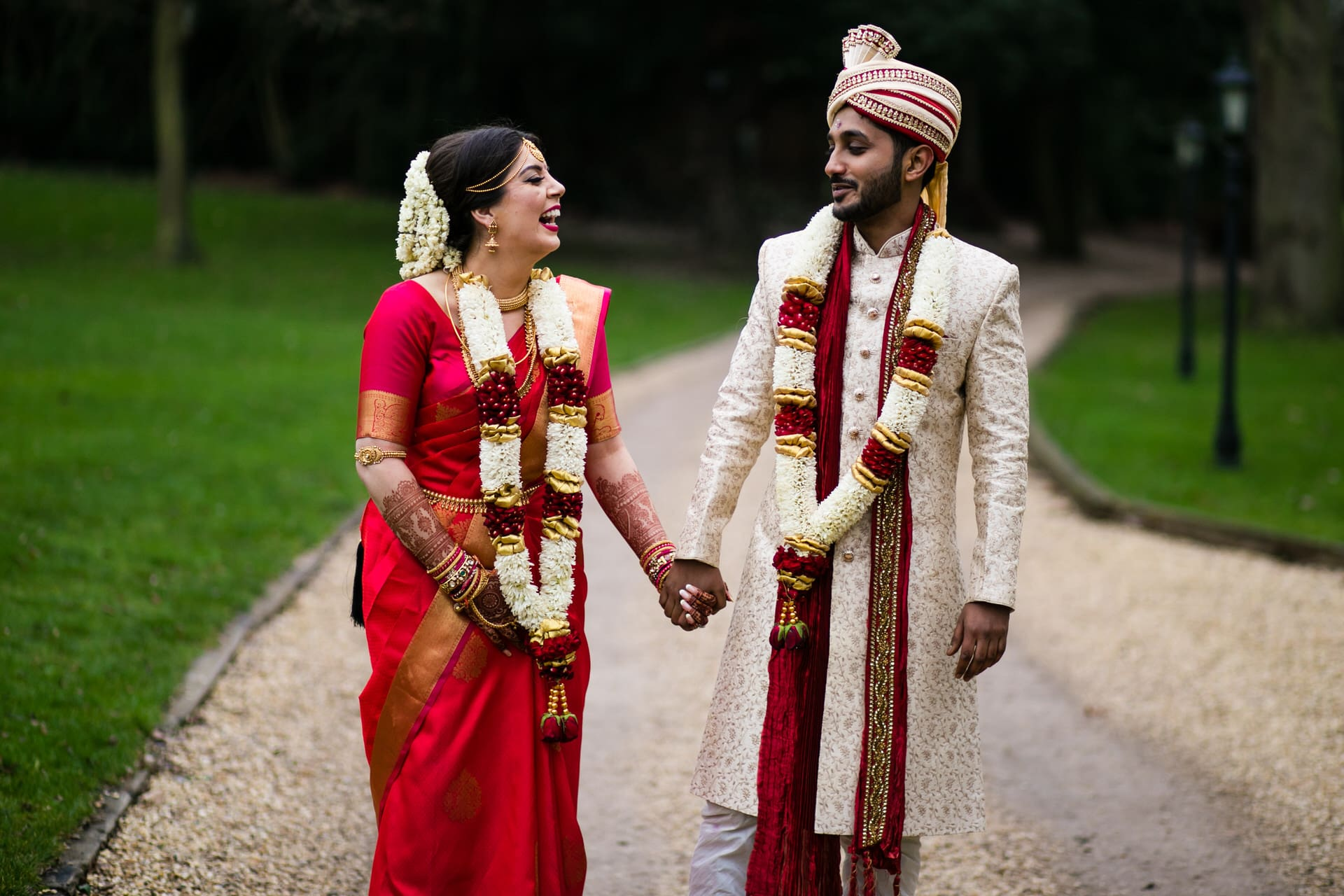 Asian wedding bride and groom portrait at Sopwell House
