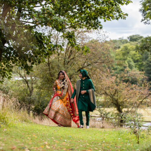 Asian wedding couple portrait at Tewinbury farm