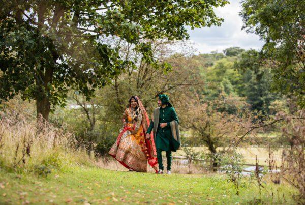 Asian wedding couple portrait at Tewinbury farm