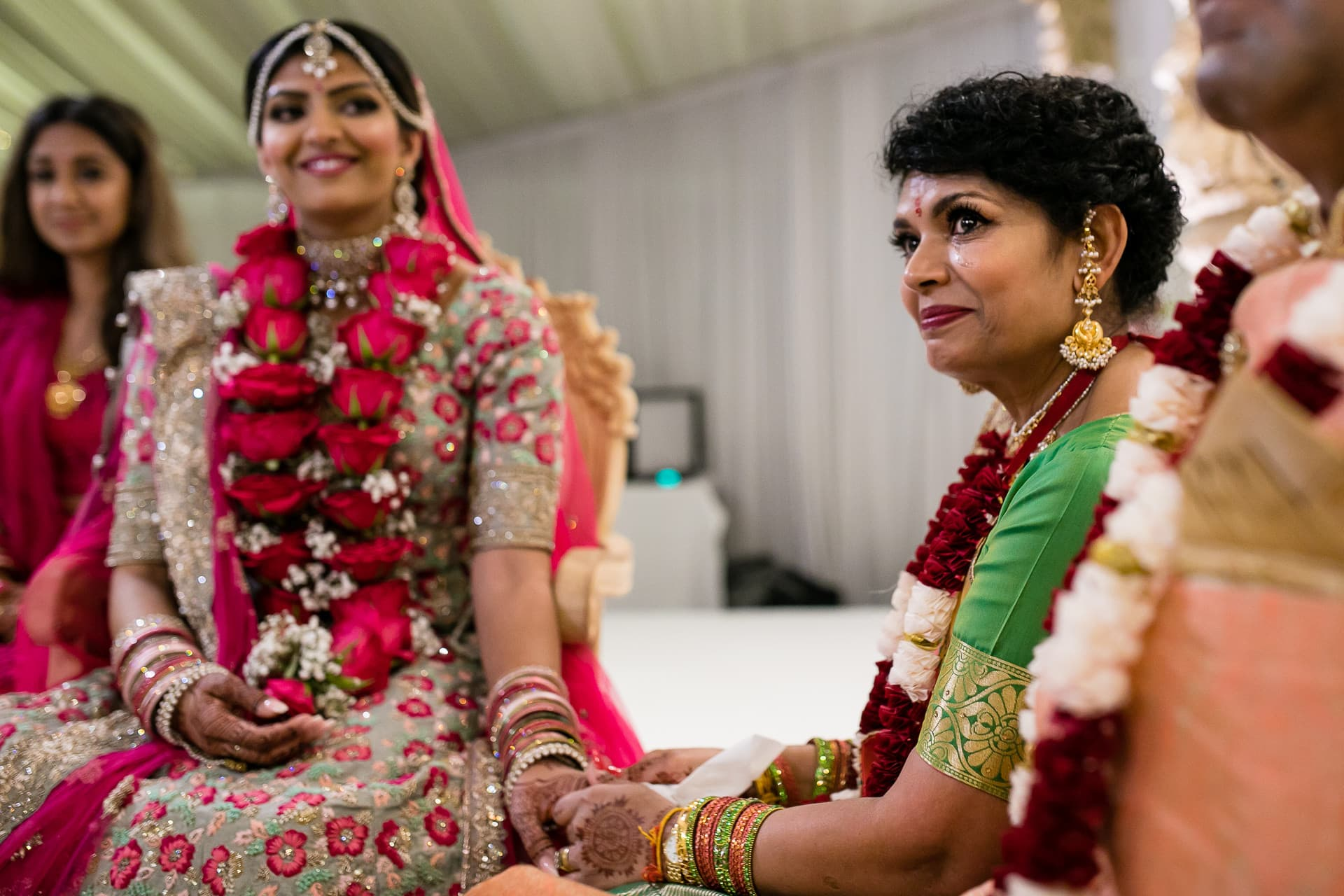 Bride and mother emotional